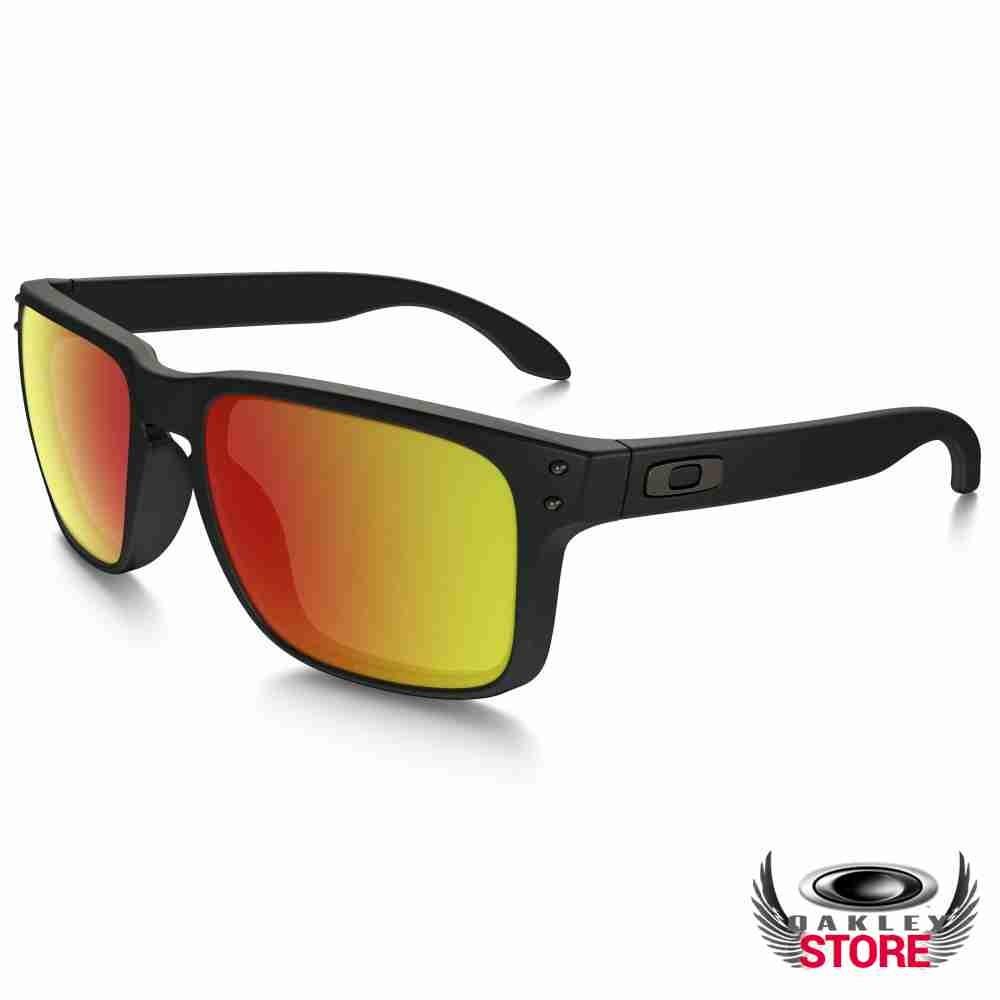 a9e617a12f8 Cheap Fake Oakley Holbrook Sunglasses Matte Black   Ruby Iridium Polarized  Sale